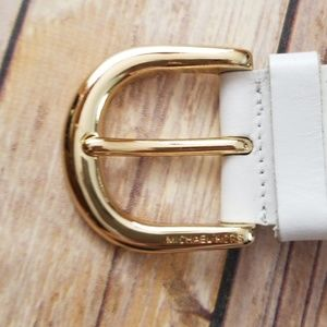 Michael Kors Accessories - Michael Kors White Leather Braided Belt